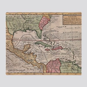 Vintage Map of the Caribbean (1732) Throw Blanket