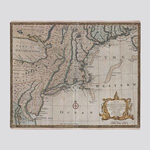 Vintage Map of The New England Coast Throw Blanket