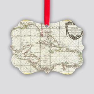 Vintage Map of The Caribbean (176 Picture Ornament