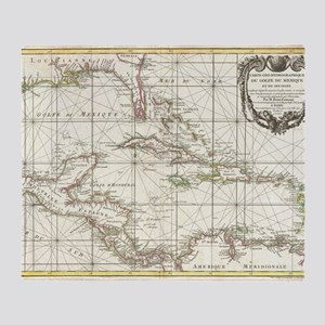 Vintage Map of The Caribbean (1762) Throw Blanket