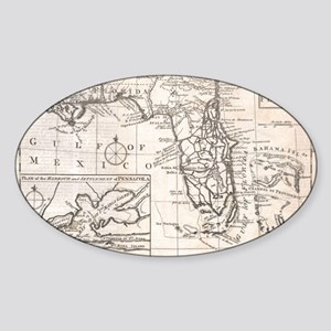 Vintage Map of Florida (1763) Sticker (Oval)