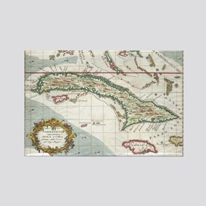 Vintage Map of Cuba and Jamaica ( Rectangle Magnet