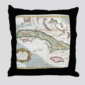 Vintage Map of Cuba and Jamaica (1763 Throw Pillow