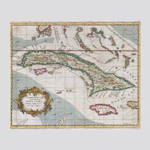 Vintage Map of Cuba and Jamaica (176 Throw Blanket