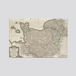 Vintage Map of Normandy (1771) Rectangle Magnet