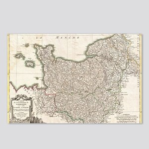 Vintage Map of Normandy ( Postcards (Package of 8)