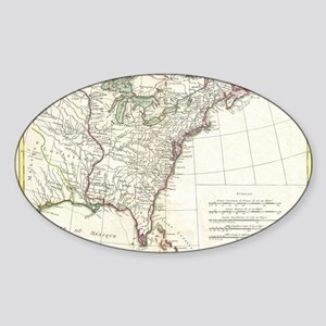 Thirteen Colonies Vintage Map (1776 Sticker (Oval)