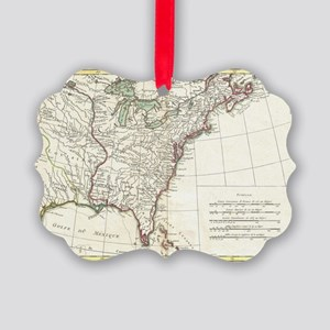 Thirteen Colonies Vintage Map (17 Picture Ornament