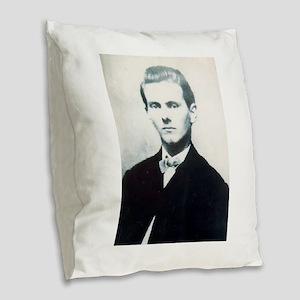 jesse james Burlap Throw Pillow