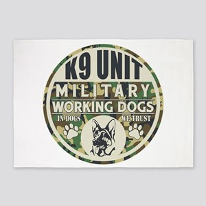 K9 Unit Military Working Dogs 5'x7'Area Rug