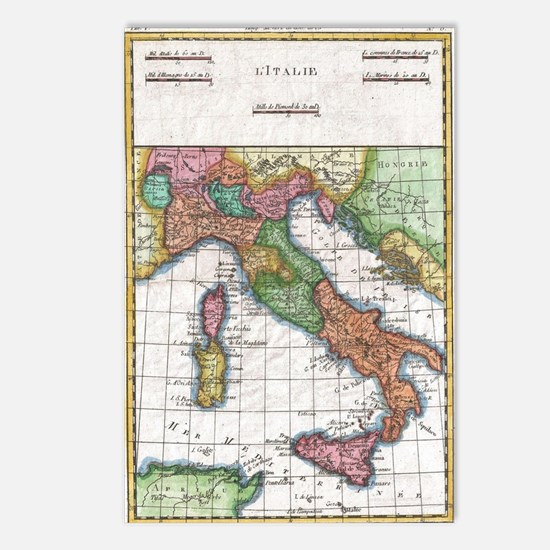 Vintage Map of Italy (178 Postcards (Package of 8)