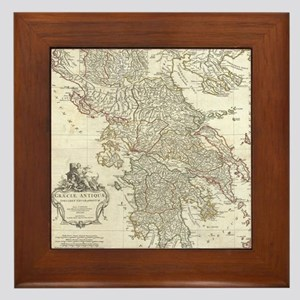 Vintage Map of Greece (1794) Framed Tile