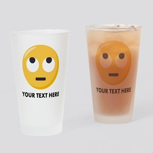 Eye Roll Emoji Personalized Drinking Glass