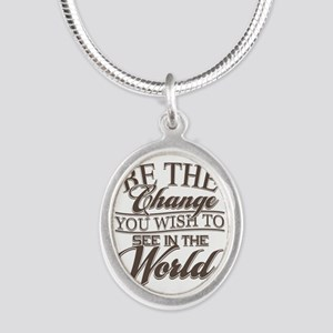 Be The Change Silver Oval Necklace