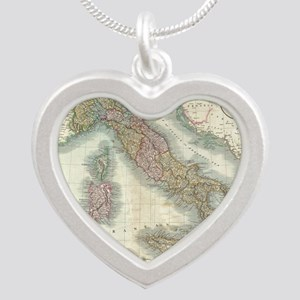 Vintage Map of Italy (1799) Silver Heart Necklace