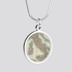 Vintage Map of Italy (1799) Silver Round Necklace