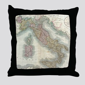 Vintage Map of Italy (1799) Throw Pillow