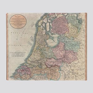 Vintage Map of the Netherlands (1799 Throw Blanket