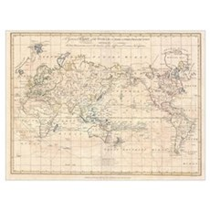 Vintage Map of The World (1799) Canvas Art