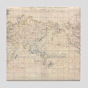 Vintage Map of The World (1799) Tile Coaster