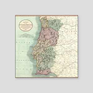 """Vintage Map of Portugal (18 Square Sticker 3"""" x 3"""""""