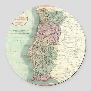 Vintage Map of Portugal (1801) Round Car Magnet