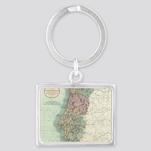 Vintage Map of Portugal (1801) Landscape Keychain