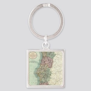 Vintage Map of Portugal (1801) Square Keychain