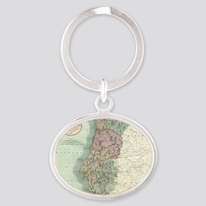Vintage Map of Portugal (1801) Oval Keychain
