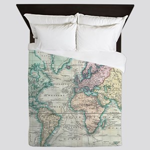 Vintage Map of The World (1801) Queen Duvet