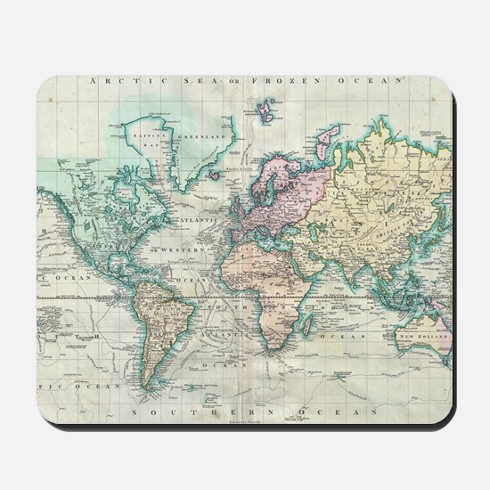 Vintage Map of The World (1801) Mousepad