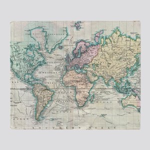 World map blankets cafepress vintage map of the world 1801 throw blanket gumiabroncs Gallery