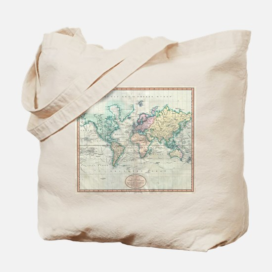 Vintage Map of The World (1801) Tote Bag