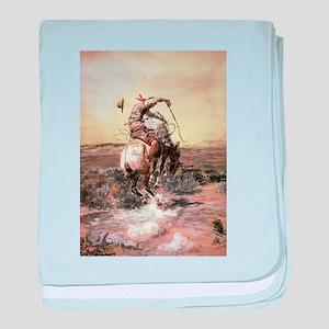 cowboy art baby blanket