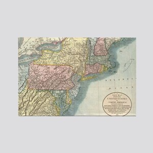 Vintage Map of New England (1821) Rectangle Magnet