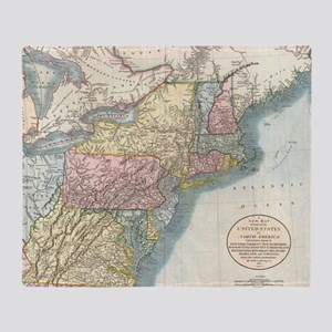 Vintage Map of New England (1821) Throw Blanket