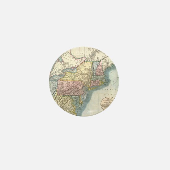 Vintage Map of New England (1821) Mini Button