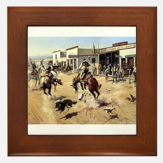 cowboy art Framed Tile