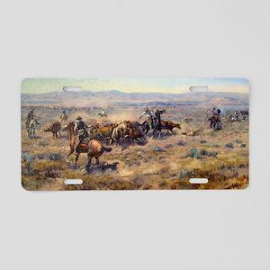 cowboy art Aluminum License Plate