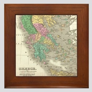 Vintage Map of Greece (1827) Framed Tile