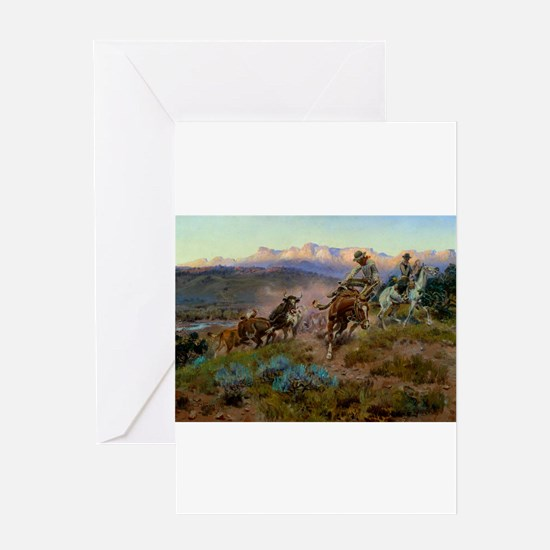cowboy art Greeting Cards