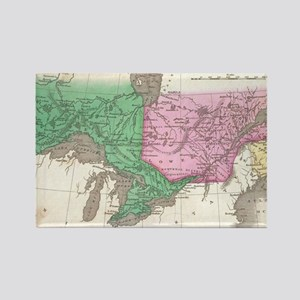 Vintage Map of Ontario and Quebec Rectangle Magnet