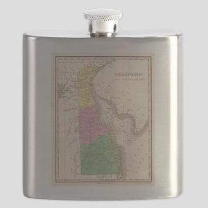 Vintage Map of Delaware (1827) Flask