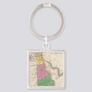 Vintage Map of Delaware (1827) Square Keychain