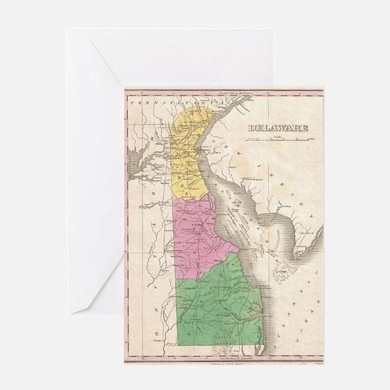 Vintage Map of Delaware (1827) Greeting Card
