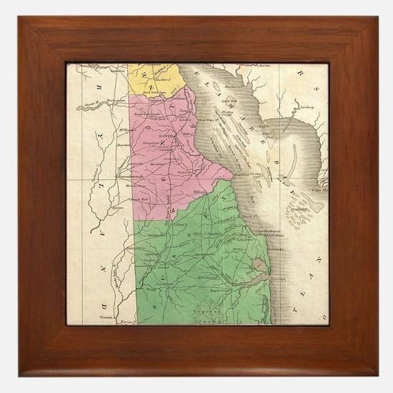 Vintage Map of Delaware (1827) Framed Tile