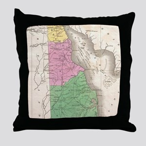 Vintage Map of Delaware (1827) Throw Pillow
