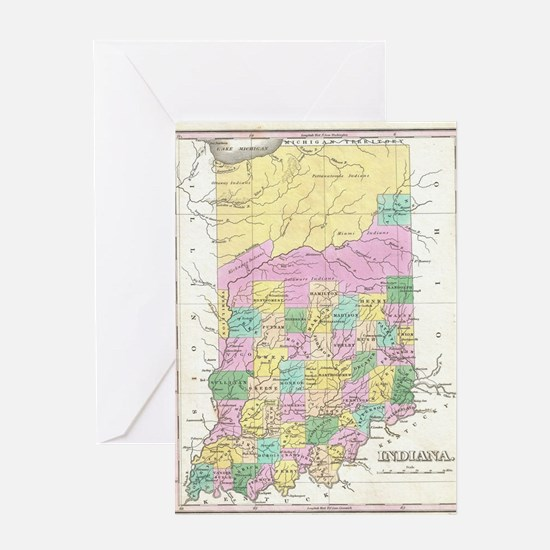 Vintage Map of Indiana (1827) Greeting Card