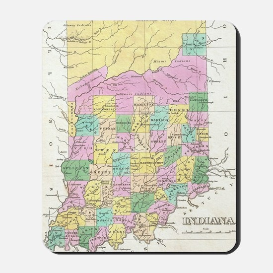 Vintage Map of Indiana (1827) Mousepad