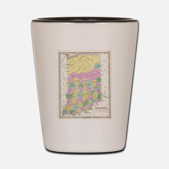 Vintage Map of Indiana (1827) Shot Glass